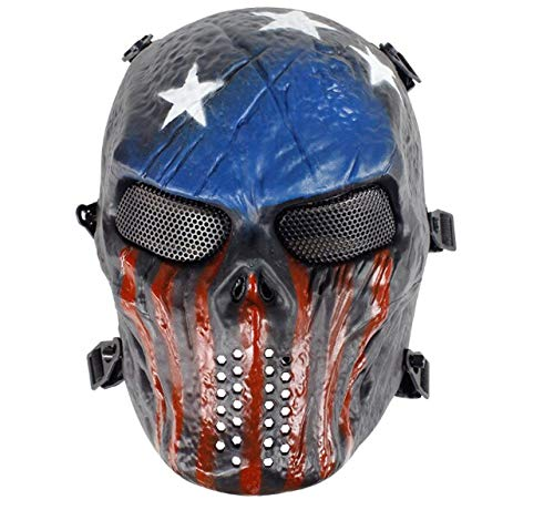 Best Quality Skull Full Mask Airsoft Paintball Sport Protection Cs Army Games Mesh, Mask Full Face - Bleach Mask, Mask Full Head, Tactical Mask Full Face, Face Skull Mask, Bb Gun Protection, Mask Gun