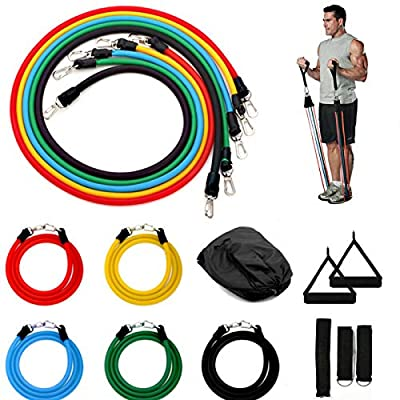 Ruby Stretch Resistance Bands Set Workout Bands 11 PCS, Exercise Tube Bands, Door Anchor, Ankle Straps, Carry Bag, Portable Home Gym Accessories - Stackable Up to 150 lbs.
