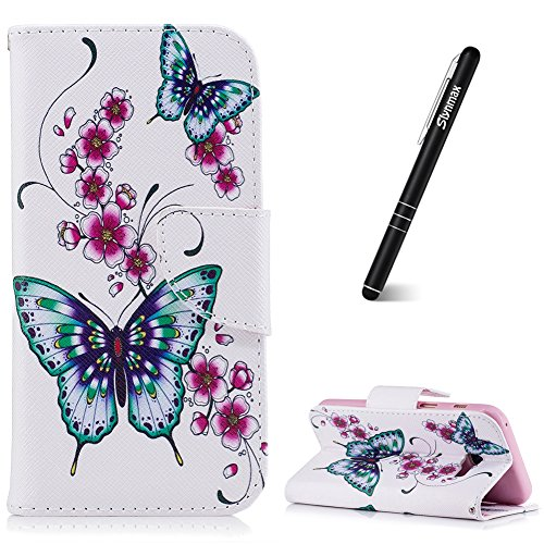 Schutzhülle für Galaxy A3 2017 Pink,Slynmax Blumen Schmetterling PU Leder Tasche Wallet Hülle Handyhülle für Samsung Galaxy A3 2017 A320 Hülle Flip Cover Klapphülle Hülle Lederhülle Stand Kartenfächer