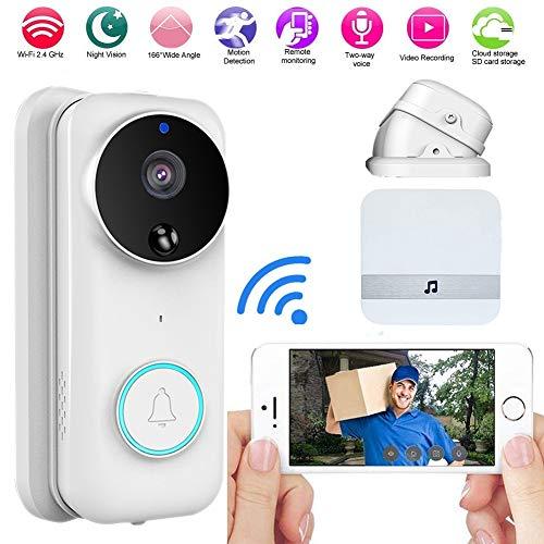 Video deurbel Pro hoekset, deurbel draadloos camerasysteem, 1080P HD Ring deurbel Camera Wifi, met hoekset, 2-weg audio, nachtzicht, PIR bewegingsmelder