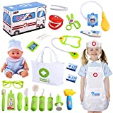 Joyjoz Kids Doctor Kit with Electronic Stethoscope, Pretend Play Medical Kit Set for Girls Kids Toddler Doctor Costume,, School Classroom and Costume Dress-Up