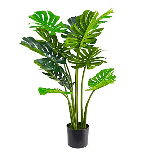 (47inch ) Artificial Boxwood Topiary Tree Artificial Monstera Plant 4ft Deliciosa Plants Fake Tropical Palm Tree Faux Feaux Indoor or Outdoor Home Office Decor,Set of 2