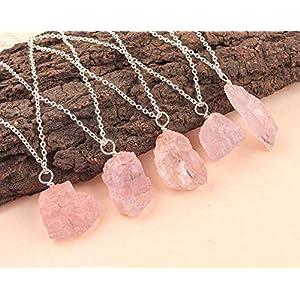 Natural Raw Pink Morganite Gemstone Crystal Pendant 925 Sterling Silver Necklace