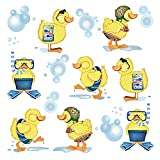 ufengke Wandtattoo Kleine Gelbe Enten Wandsticker Wandaufkleber Badezimmer für Kinderzimmer Kinder Baby