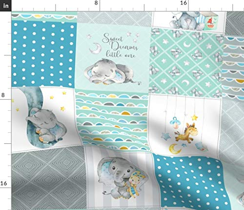 Spoonflower Fabric - Elephant Quilt Baby Boy Patchwork Cheater Teal Mint Gray and Animals Printed on Minky Fabric by The Yard - Sewing Baby Blankets Quilt Backing Plush Toys