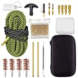 DINGDOON Gun Cleaning Kit 19 in 1 with Special 9mm Handgun Snake .22 .38 9mm .40 .45 Caliber Pistol Bronze Bore Brush and Brass Jag Adapter,100Pcs 3' Cotton Swabs Empty Bottle