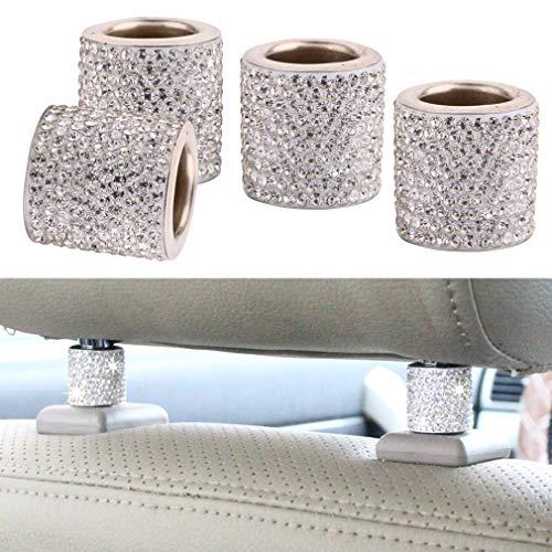 Auto Sitz Kopfstützen Halsbänder Dekor, 4 Stück Universal Diamant Kristall Bling Dekor für Auto Innendekoration Auto Zubehör (Weiß)