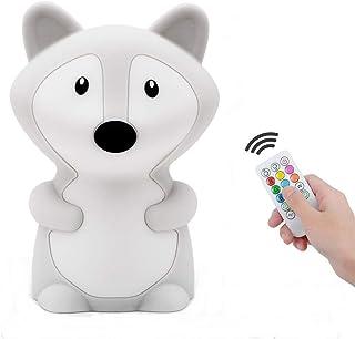 luz nocturna infantil, Tianhaixing LED Silicona blanda Zorro luz nocturna con 9 colores cambiando/USB recargable/control remoto y táctil regulable, ideal Navidad y regalos de cumpleaños para niños