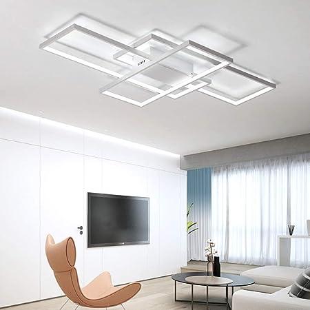 LED Deckenleuchte Eckige Wohnzimmer Modern Holz Deckenlampe Holz Lampe Dimmbar Mit Fernbedienung Platz Acryl Lampenschirm f/ür Schlafzimmer Esszimmer Kinderzimmer Leuchte Decke Licht Holzlampe 25W