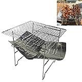 N/D Wshawn Durable accampamento Esterno Portatile Pieghevole in Acciaio Inox Barbecue a carbonella Grill + Rete Metallica (Argento) (Color : Silver)