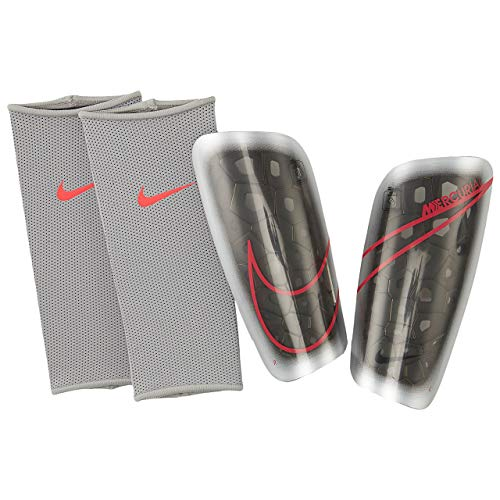 Nike NK MERC LT GRD Shin Guards, metallic Silver/Black/(Laser Crimson), M