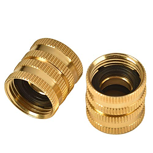 "REGNHLIF 2 Pack 3/4"" Garden Hose Connector with Dual Swivel for Male Hose to Male Hose, Double Female"
