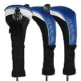 Andux - Pack de 3Fundas para Cabezales de Palos de Golf, n.º de Etiqueta Intercambiable CTMT-02, Azul