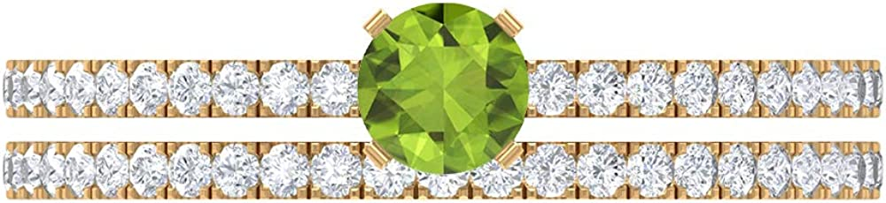4 MM Round Peridot Solitaire Ring, 1/2 CT D-VSSI Moissanite Wedding Band, Gold Wedding Ring Set (AAA Quality), 14K Gold