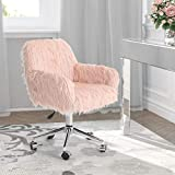 MAISON ARTS Pink Faux Fur Vanity Chair Fluffy Accent Chair, Adjustable Swivel Desk Chair with Chrome Base for Living Room, Bedroom