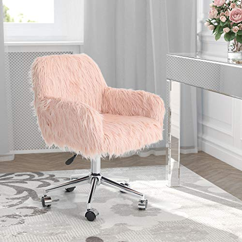 MAISON ARTS Faux Fur Vanity Chair, Pink Desk Chair Bedroom Chair with Back, Swivel Height Adjustable Home Office Chair Modern Accent Chair