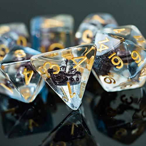 World of Dice Juego de dados para clases de Capitán (7 piezas, para bolígrafos y papeles, como Dungeons and Dragons, el ojo negro, Pathfinder