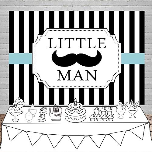 Laeacco 5x3ft Little Man Theme Background Vinyl Boy Baby Shower Photography Backdrop Black and White Vertical Striped Background Child Kids Baby Portraits Shoot Birthday Party Photo Prop
