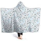 Manta con capucha de 40 x 50 pulgadas, diseño victoriano, hibisco floreciente, plantas de jardín, nupcial, azul claro, con capa de Wele de gran tamaño