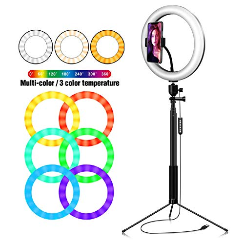 RGB Ring Fill Light, draagbare verduisteren selfie Ring licht met Tripod Stand for Photography Makeup Live Stream,C