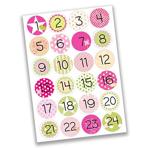 Papierdrachen 24 Adventskalender getallensticker - zwart wit nr. 16 - sticker 4 cm - om te knutselen en te decoreren Roze groen voor meisjes.