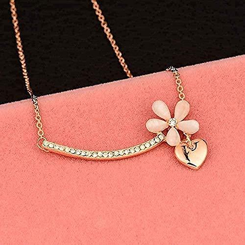 FACAIBA Collar Hermoso ópalo Flor corazón Collar Colgante Collar Cadena Corta para Mujeres Accesorios de joyería Collar Colgante Cadena para Mujeres Hombres