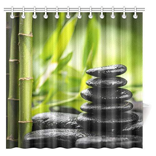 Luancrop Bamboos Spa Decor Duschvorhang, japanische Therapie- & Entspannungssteine Design Stoff Duschvorhang mit Haken