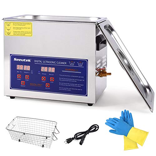 Seeutek Professional Ultrasonic Cleaner 6.5L with Digital Timer and Heater 304 Stainless Steel for Jewelry Rings Diamond Watch Glasses Circuit Board Dentures Small Parts Dental Instrument