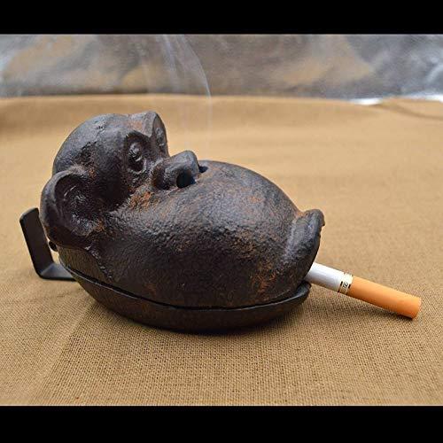 Auoeer Cenicero Moldeada Cigarrillo al Aire Libre de Hierro Cigarrillos cenicero con Tapa, en Forma de Mono for Casa de la Cenicero