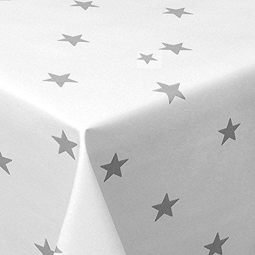 Wachstuch Sterne Weiss Glatt Weihnachten · Eckig 140x160 cm · Länge wählbar· abwaschbare Tischdecke