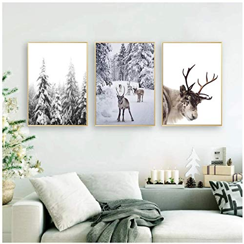 Reindeer Poster Print Winter Wall Art Canvas Painting Nordic Christmas Snow Covered Trees Picture Home Decor Art-20x28 inchx3No Frame