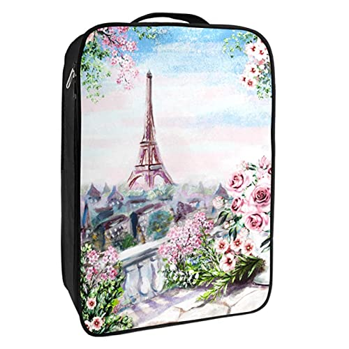 Caja de almacenamiento para zapatos de viaje y uso diario de la Torre Eiffel de París, organizador portátil, impermeable, hasta 12 yardas con doble cremallera, 4 bolsillos