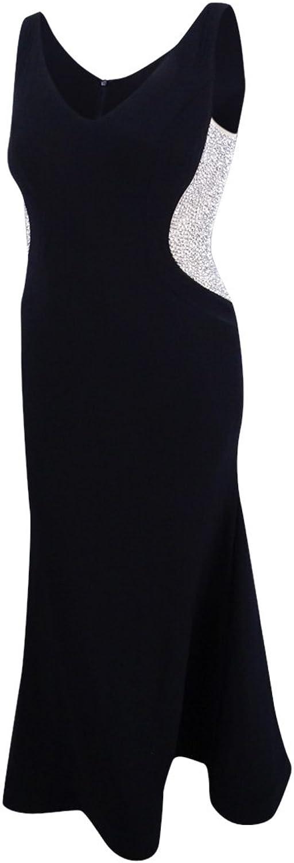 Xscape  249 Womens 1438 Black Embellished Zippered Dress 10 Petites B+B