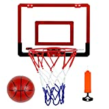 Kids Basketball Hoop Backboard Set Wall Mounted with Net Ball Pump Portable Indoor