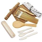 Kit per Preparare Sushi, Kit per Sushi in bambù,Set Sushi e Set di Piatti Sushi,per Riso alle Alghe Bacchette per Attrezzatura Pagaie di Riso e Spargitori di Riso
