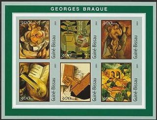 【無目打】ジョルジュ・ブラックの絵画の切手 ギニアビサオ2001年6種連刷シート