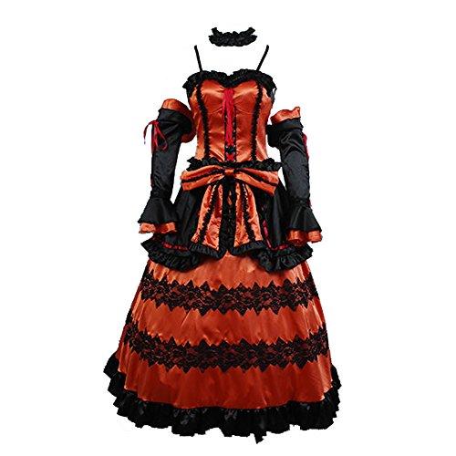 Date a Live Kurumi Toki Saki Astral Vestido Cosplay Disfraz Juego Completo Rojo Medium