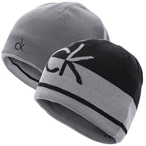 Calvin Klein Hommes CK réversible Knit Bonnet - Noir/Argent