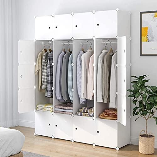 SIMPDIY Portable Kleiderschrank, Faltschrank mit hängendem Rod, modularer Kombischrank für hängende Kleidung, 8 Würfel Platzsparendes Steckregalsystem, Platzsparende Garderobe (weiß)