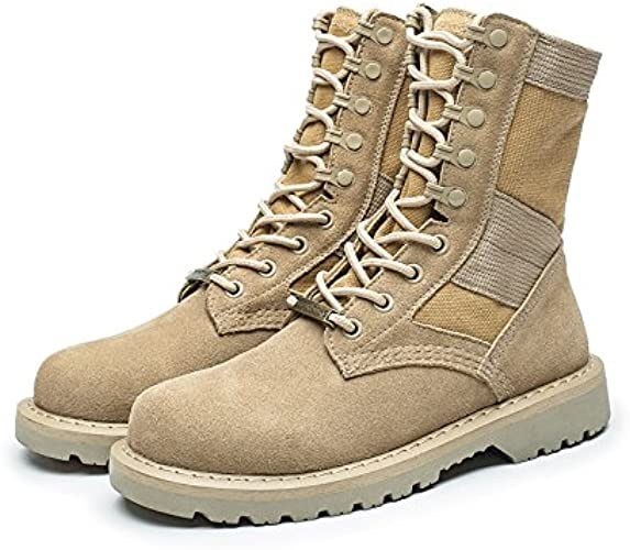 GUNAINDMX Martin bottes Hommes's chaussures Military bottes Wild, 43 Standard cuir Taille, Beige High to Aidez-moi Male Models
