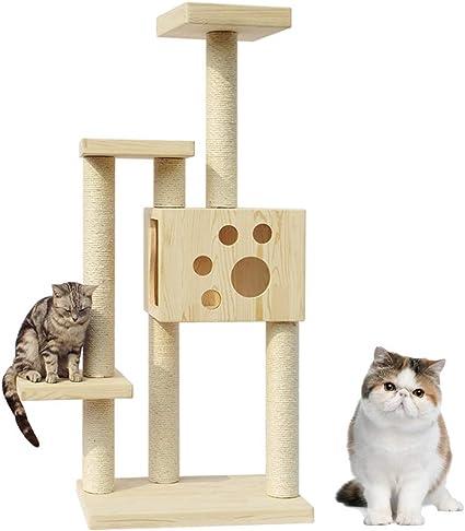 Árboles para Gatos Gato Madera Maciza Torre De Gato Diversión ...