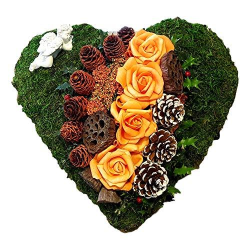 Der-kleine-Dekoladen Grabschmuck orangefarbige Rosen Totensonntag Grabgesteck Herz Grabaufleger
