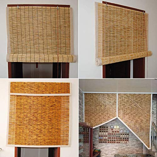 DONGZHI ReedsPersianas Enrollables de Bambú - Persianas de Caña - Cortinas Opacas, Adecuado para Patios, Jardines, Interiores, Exteriores,60x120cm/24x47in