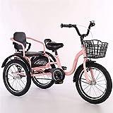 ZJZ Triciclo para niños, niñas, niños, Bicicletas de Tres Ruedas, Altura Ajustable, Bicicletas de Tres Ruedas con Carga de Campana, 100 kg