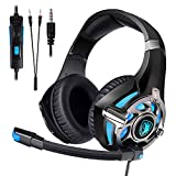 Sades SA822 Gaming Headset Over-Ear Gaming Headphone for PS4, Xbox One PC Computer Mobile Phone (Black/Blue)