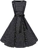 Bbonlinedress Robe Vintage rétro 1950's Audrey Hepburn de soirée Cocktail Mariage Anniversaire année 50 Rockabilly Black White Dot XS