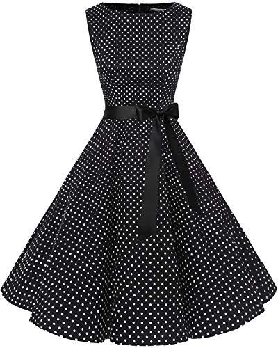 Bbonlinedress Women's 1950s Audrey Summer Vintage Rockabilly Swing Dress Coral S
