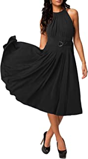 Yikomi Women's Sleeveless Halter Neck A Line Swing Casual Cocktail Party Dresses K064