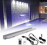 Pondo - Fuente de piscina en cascada iluminada con cambio de color LED 7 y mando a distancia, vertedor de acrílico para jardín de bajada puro al aire libre (90 cm)