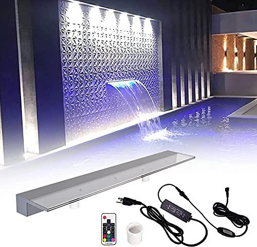 Pondo - Fontana da piscina in cascata illuminata con cambio di colore LED 7 e telecomando, in acrilico per giardino a discesa puro aria (90 cm)